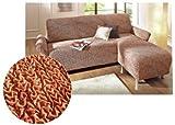 GAICO Stretch Husse Ottomane Sofaüberwurf Sofa Couch Staubschutz Überwurf terra