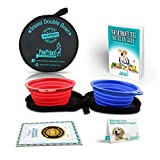 Travel Dog Bowl - Double Collapsible & FDA Approved Travel Dog Food Bowl - Compact, Non Leak & Lightweight - Dishwasher safe - 100% BPA Free Plastic No Allergy! - Comes with Free eBook Guide on Dog Nutrition - 100% MONEY BACK GUARANTEE - Buy Now!