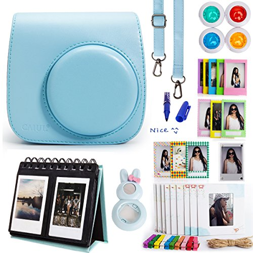 Woodmin Classical Blue 10-in-1 Fujifilm Instax Mini Accessories Bundle for Fuji Instant Mini 8 Camera (Mini 8 case/ Calendar Albums/ Frames/ Film Stickers/ Filters/Mark pen/Selfi-Lens)