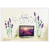 Oren Empower Lavender Purple Flowers Romantic PVC Vinyl Wall Decals
