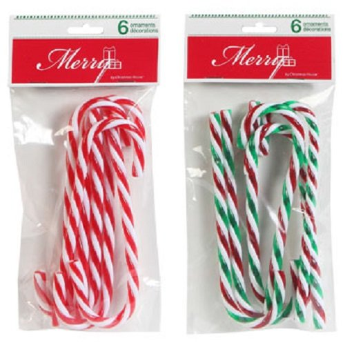 Christmas House Plastic Candy Cane Ornaments, 2 (6-ct. Packs, 1 Red & 1 Green Striped)