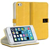 GMYLE(R) Golden Yellow PU Leather Magnetic Protective Flip Folio Slim Fit Wallet Purse Stand Case Cover for iPhone 5 / 5S / 5C (with 2 Card Slots)