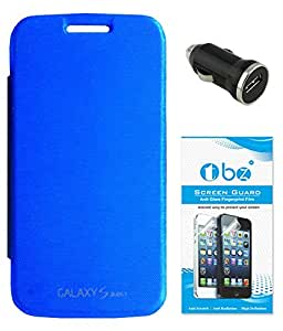 TBZ Flip Cover Case for Samsung Galaxy S Duos 3 with Car Charger and Screen Guard -Blue