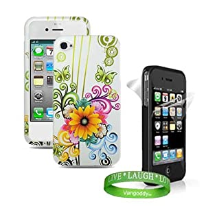 Apple iphone 4 Accessories Kit: Butterfly & White Flower Cool Design Hard Snap On Crystal Case + Custom Cut Full Body iPhone 4 Screen Protector ( Front and Back ) + VG Live * Laugh * Love Wrist Band!!!