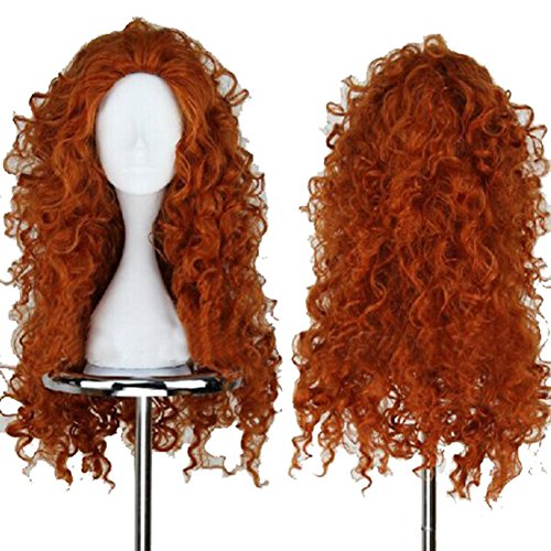 Halloween 2017 Disney Costumes Plus Size & Standard Women's Costume Characters - Women's Costume CharactersLong Curly Princess Merida Cosplay Costume Wig