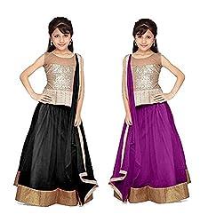 Purva Art Black & Purple Net Kid's Lehengha Choli