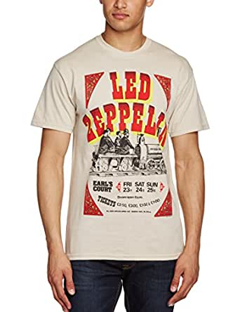 Live Nation Men's Led Zeppelin - Earls Court Tickets Crew Neck Short Sleeve T-Shirt, Beige, X-Large