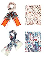 Set Of Two Trendy Stoles, Multicolored - Print Stole, Scarf And Dupatta For Women From INDIAN FA... - B010NTK9XU