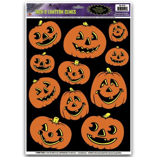 Jack-O-Lantern Clings Party Accessory (1 count) (11/Sh) - 1