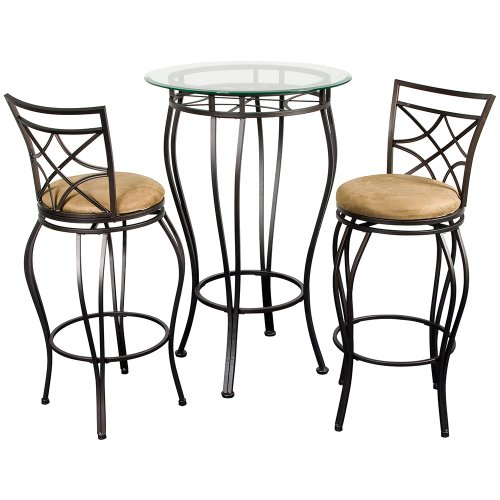 Cheap Home Source Industries 3-Piece Italian Bistro with a Glass Table Top and 2 Stools (WEB BISTRO)