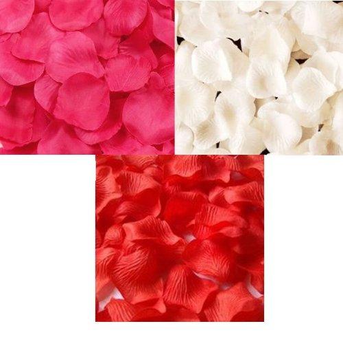 Exhibiciones coloridas! Pétalos de rosa ducha rojos rosa color blanco 900 a sábanas y fiestas de boda, etc..