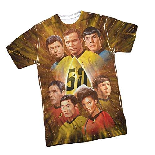 Star Trek 50th Anniversary -- Crew Front Print Sports Fabric T-Shirt, XX-Large