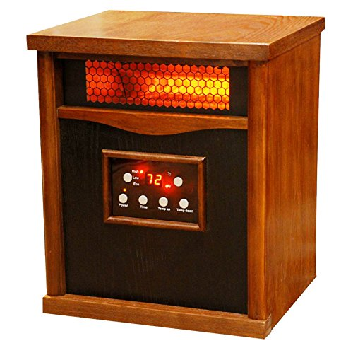 B0098FT6TO Lifesmart 6 Element Large Room Infrared Quartz Heater w/Wood Cabinet and Remote
