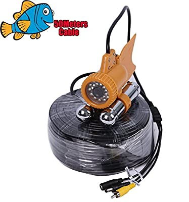 Vanxse® Underwater Fish Camera Sony CCD 800TVL 24Pcs White LED 100 Degree view Fish Finder video Camera (50Meters Cable)