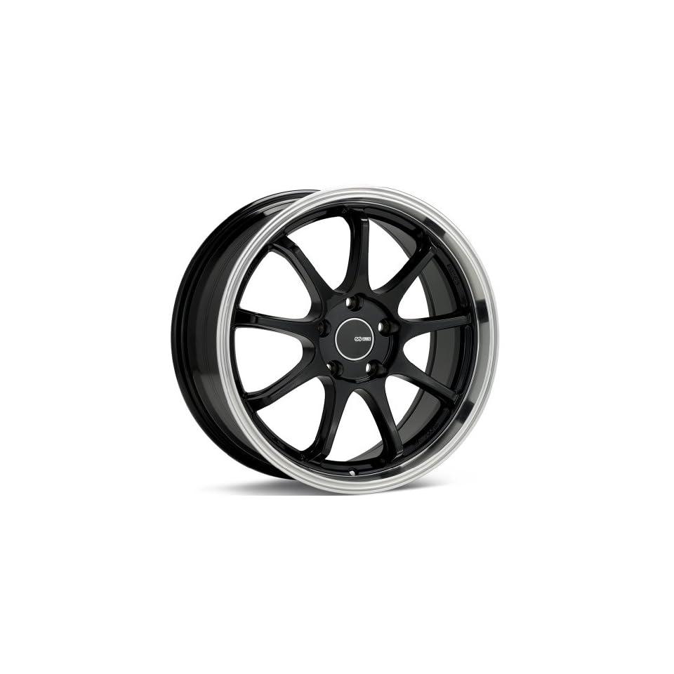 18x8.5 Enkei Tenjin (Black w/ Machined Lip) Wheels/Rims 5x100 (478 885 8045BK) Automotive