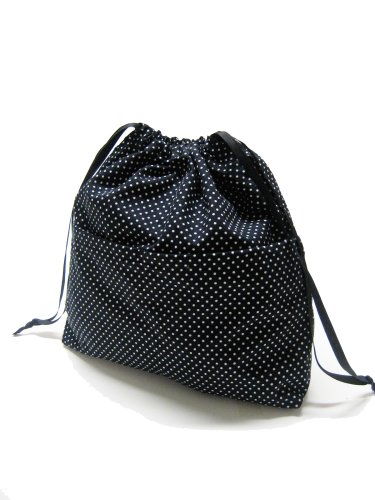 TESAGE Yukiko Sato New York D2 Mod CharcoChino Dots Black Polka Dots, Drawstring Purse Insert Organizer, Knitting Project bag