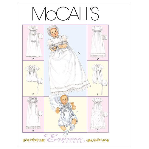 McCall's Patterns M6221 Infants' Christening Gown, Rompers With Snap Crotch In 2 Lengths and Bonnets, All Sizes (Christening Gown Sewing Pattern compare prices)