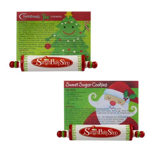 Grasslands Road Holiday Studio 100 Santa's Bake Shop Rolling Pin Recipe Card Holders with Sugar Cookie Recipe and Ten Cards Two Styles ,Gift Boxed, Set of 6