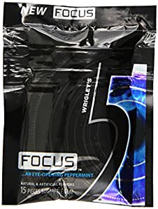 Five Sugar Free Gum, Focus Peppermint, 15 Piece Packages (Pack of 10)