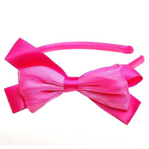 Boutique Girls Accessory Satin Hairband Fuchsia Hair Bow