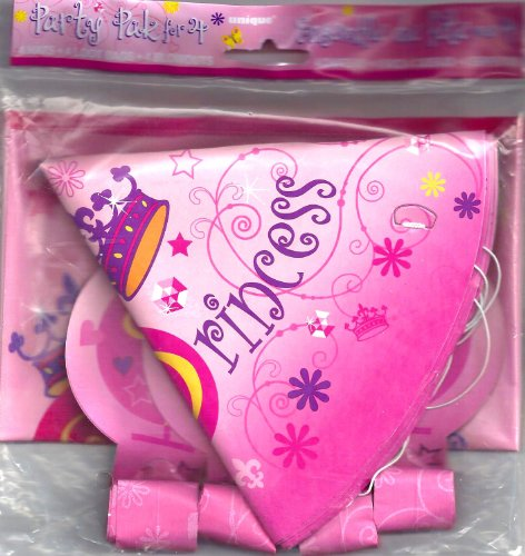 Pink Princess 12 Piece Party Pack ~ Hats, Loot Bags & Blowouts - 1