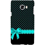 Black Pattern With Blue Bow Hard Polycarbonate Designer Back Case Cover For Samsung Galaxy C5 :: Samsung Galaxy...