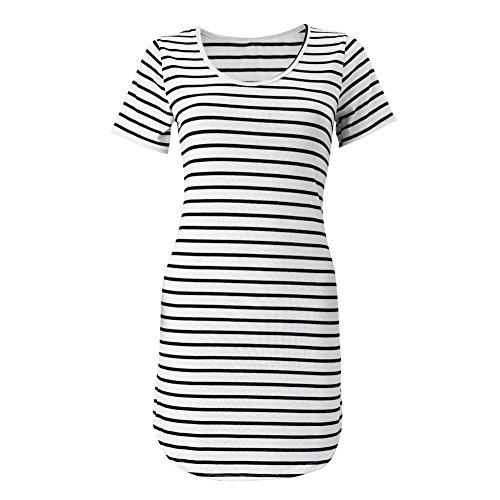 FUNOC® Women Summer Beach Dress Party Short Sleeve Stripe Blouse Mini Sundress