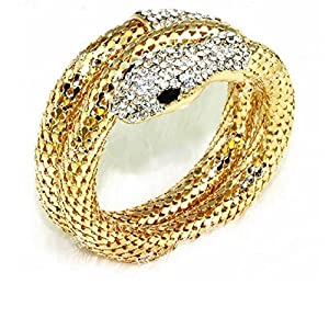 Lady's Vintage Retro Punk Crystal Chunky Curved Stretch Snake Bracelet Nightclub Gold