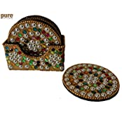 Good Quality Wooden Coaster With Beaded Work By Hand On It, 6 Pcs Set.