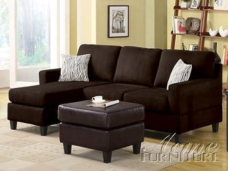 Acme Furniture 05907B Vogue Chocolate Microfiber Sectional
