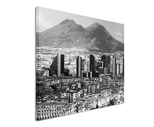 50x70cm Leinwandbild schwarz weiß in Topqualität Stadt Skyline Neapel Berg Italien