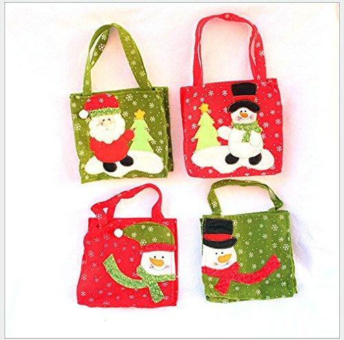 Sacchetti Regalo di Natale, Xmas Homecube Sack Candy Bag e Trattare Borse con Manico Confezione Regalo Portatile di Natale (4 pacchetti)