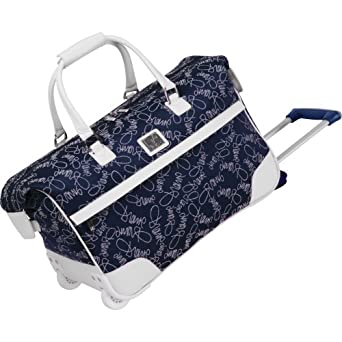 Diane Von Furstenberg Luggage Color On The Go 20 Inch Wheeled City Bag, Navy/White, One Size