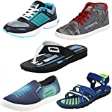 Earton Men Combo Pack Of 5 Sports With Casual Shoes,Sandals & Slipper