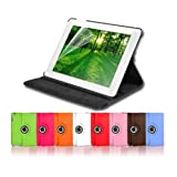 JAMMYLIZARD Black Leather 360 Degree Rotating Stand Case Cover & Screen Protector for The New iPad 4 (with Retina Display) + iPad 3 + iPad 2 with Full Sleep Wake compatibility!by JAMMYLIZARD