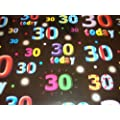 30th Birthday Wrapping Paper, 2 Sheets and a Matching Tag (Black)
