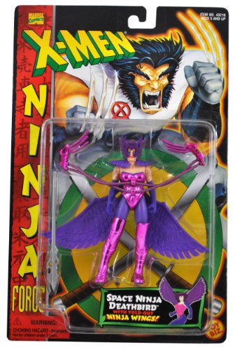 Marvel Comics Year 1996 X-MEN Ninja Force Series 5 Inch Tall Action Figure - SPACE NINJA DEATHBIRD with Fold Out Ninja Wings, Removable Exoshield Armor, Clip-On Leg Armor and Spear