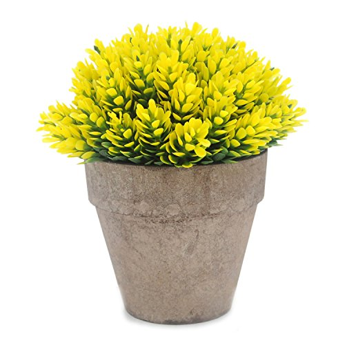 Velener Mini Artificial Flowers Provence Lavender Arrangements in Pots for Home Decor (Yellow)