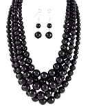 Young & the Restless ~ Genevieve Atkinson ~ Black Pearl Multi-strand Multi-row Beaded Beads Necklace