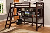 Twin Size Loft Bed with Workstation in Espresso Finish