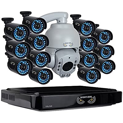 Night Owl Security B-A720-162-14-1PTZ 16 Channel Analog HD DVR with 720p HD Outdoor Pan & Tilt Camera (Black)