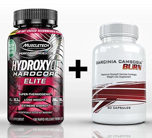 Hydroxycut Hardcore Elite (180 Capsules) & Garcinia Cambogia Burn (60 capsules) - High Performance Fat Burning, Poids Supplément de perte Combo. Perdre plus de graisse, plus rapide!