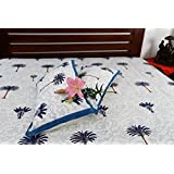 Jodhaa Double Bedsheet Set In Cotton Printed In White, Blue And Brown With Blue Border Coconut Tree Print