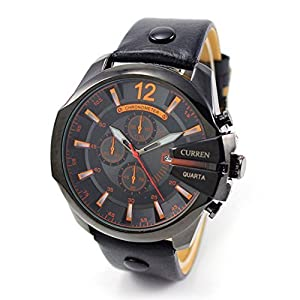 Outtop Curren® 8176 WaterproofDate Display Quartz Alloy Wristwatch with Leather Strap,53mm Dial,Black