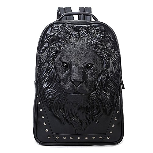 Aibag Personalized 3D Lion Studded PU Leather Casual Laptop Backpack School Bag