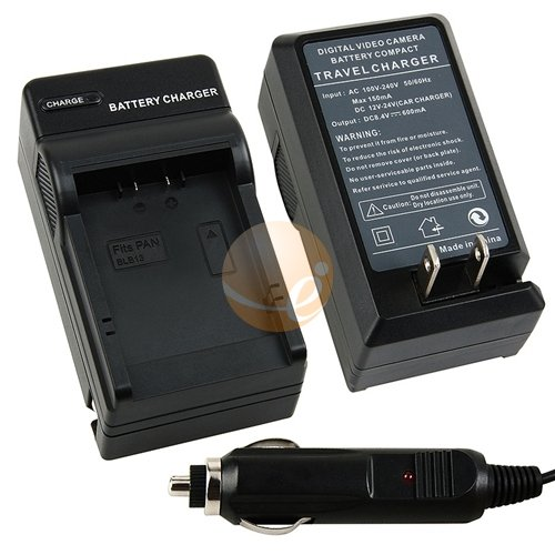 DMW-BLB13 Replacement Battery Charger with Car Adapter for Panasonic Lumix DMC-GF1