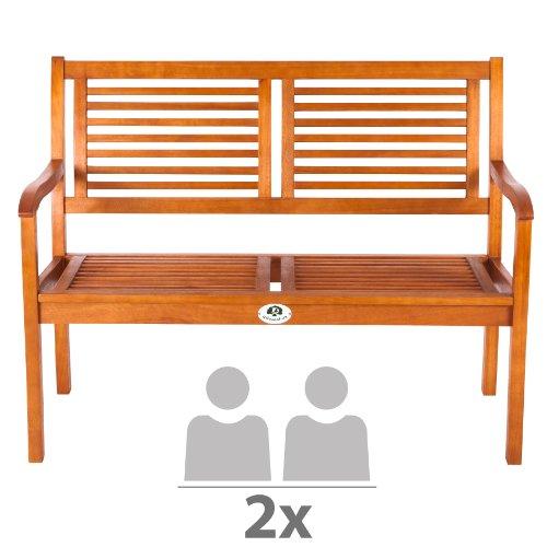 Ultranatura Canberra Series 2-Seater Garden Bench FSC-Certified Eucalyptus Wood 120 cm x 56 cm x 91 cm