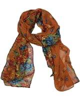 eFuture(TM) Orange Fashion Soft Paris Yarn With Flower Pattern Long Muffler Shawl Scarf Wraps +eFuture's nice Keyring