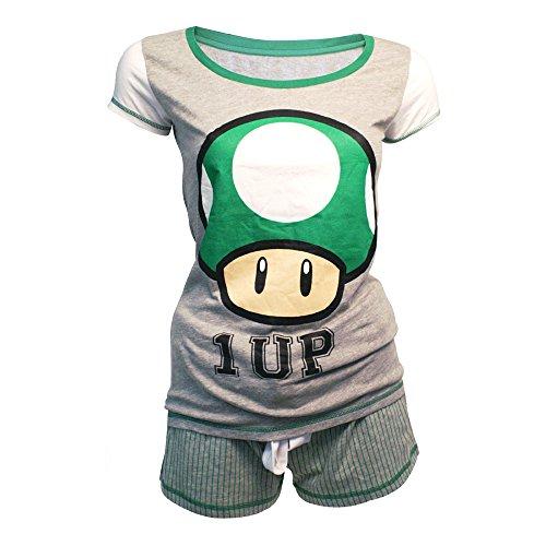 Nintendo - Pigiama con pantaloncini corti con stampa di Super Mario Bros 1-Up Mushroom, Grigio/Verde, M