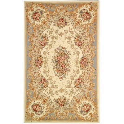 Safavieh FT217C Handmade Ivory and Light Blue Hand-spun Wool and Silk Round Area Rug, 4-Feet